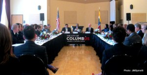 """U.S.DOT Sec. Anthony Foxx, center, speaks to Columbus leaders about 'Smart Cities Challenge."""""""