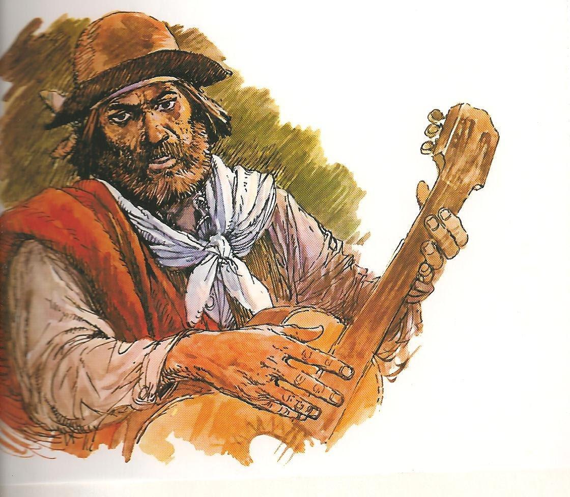 Caricatura de El Gaucho Martín Fierro, famoso poema argentino