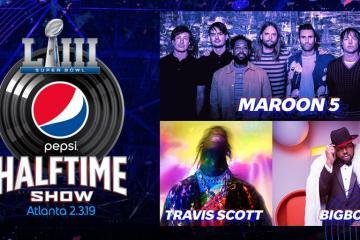 Maroon 5, Travis Scott y Big Boi serán los artistas a presentarse en el medio tiempo del Super Bowl. Cusica Plus.