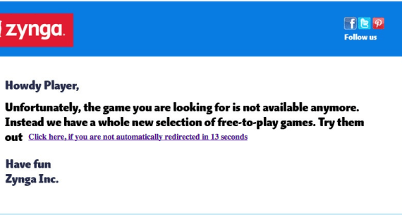 Zynga game shutdown