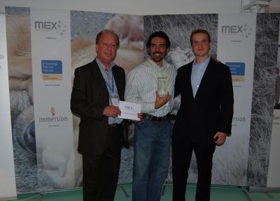 Terry Warmbier, Director of Business Developer, Immersion Corporation (Sponsor); Kai Brunner, designer of BlazeBroker (Winner); Marek Pawlowski, Founder of MEX (Organiser & Host)