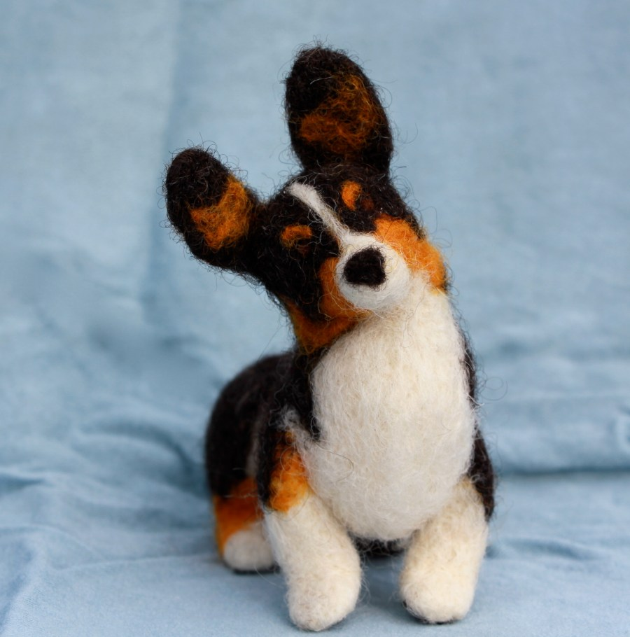 Tiny Felt Corgi by Fiber Friends