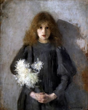 Boznańska_Girl_with_chrysanthemums