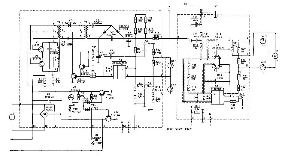 принципиальная схема мегаомметра ЭС0202