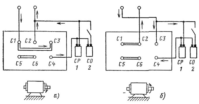 Переключение соединений выводов обмоток в случае реверса для схемы