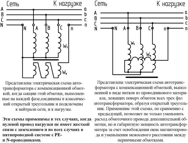 Схемы включения трансформаторов