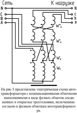 Автотрансформатор с компенсационными обмотками