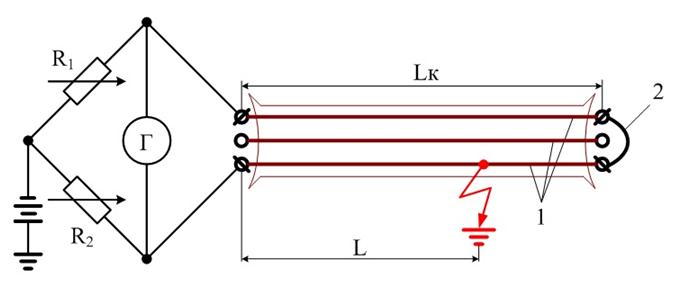 Принципиальная схема определения места повреждения