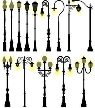 Уличное освещение. Различные виды фонарных столбов