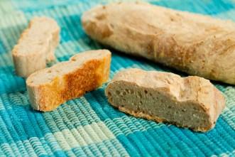 sourdough loaf cut up