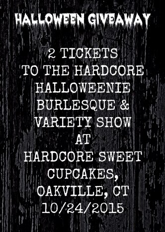 Join The Desultory Theatre Club at Hardcore Sweet Cupcakes for The Hardcore Halloweenie Burlesque & Variety Show on October 24, 2015! It's a night you won't want to miss!