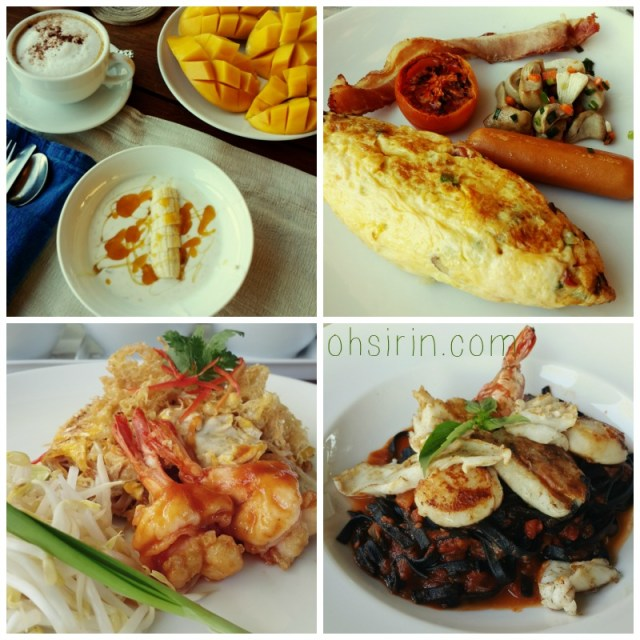 My breakfast of fresh yoghurt and banana drizzled with honey, Spanish omelette and sausage, and our lunch of Phad Thai and ink linguini with seafood (yummy).