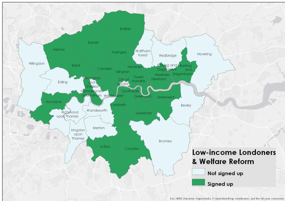 Low Income Londoners and Welfare Reform graphic showing which London councils have signed up to this Policy in Practice project supported by Trust for London