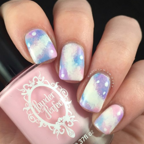 Pastel Galaxy Nails using Powder Perfect and Pretty Serious Polishes