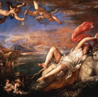 Júpiter, o mais poderoso dos Deuses romanos, toma a forma de um touro branco e convence a princesa Europa, por quem estava apaixonado, a monta-lo. Quando ela o faz, ele foge para a ilha de Creta, onde a estupra. O quadro é de Titian (Tiziano Vecellio), pintor veneziano do século 16.
