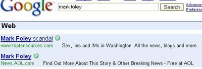 Mark Foley Google Adwords - top