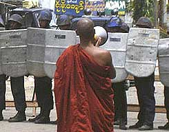 Buddhist Monks protest in Burma