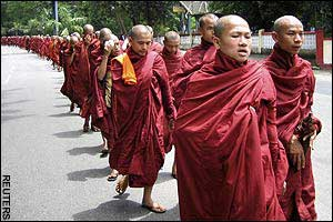 Burma monks marching