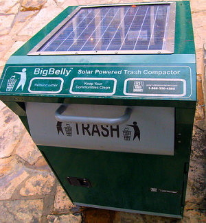 big belly solar powered trash compacter