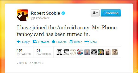 Scoble Android Tweet