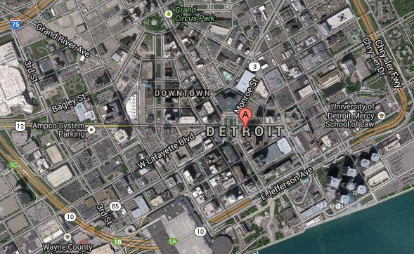 Downtown Detroit. Many empty blocks. Credit: Google Maps