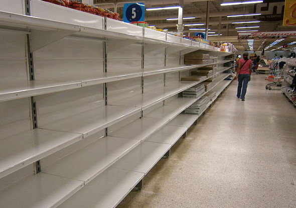 Empty shelves in Venezuela market