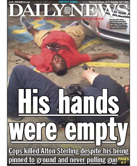 Daily News cover. Alton Sterling