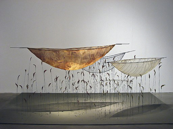 Laura Tabakman, 3 Vessels-Marshland, 2011 steel wire, silk, gut, polymer, 4' x 8' x 4
