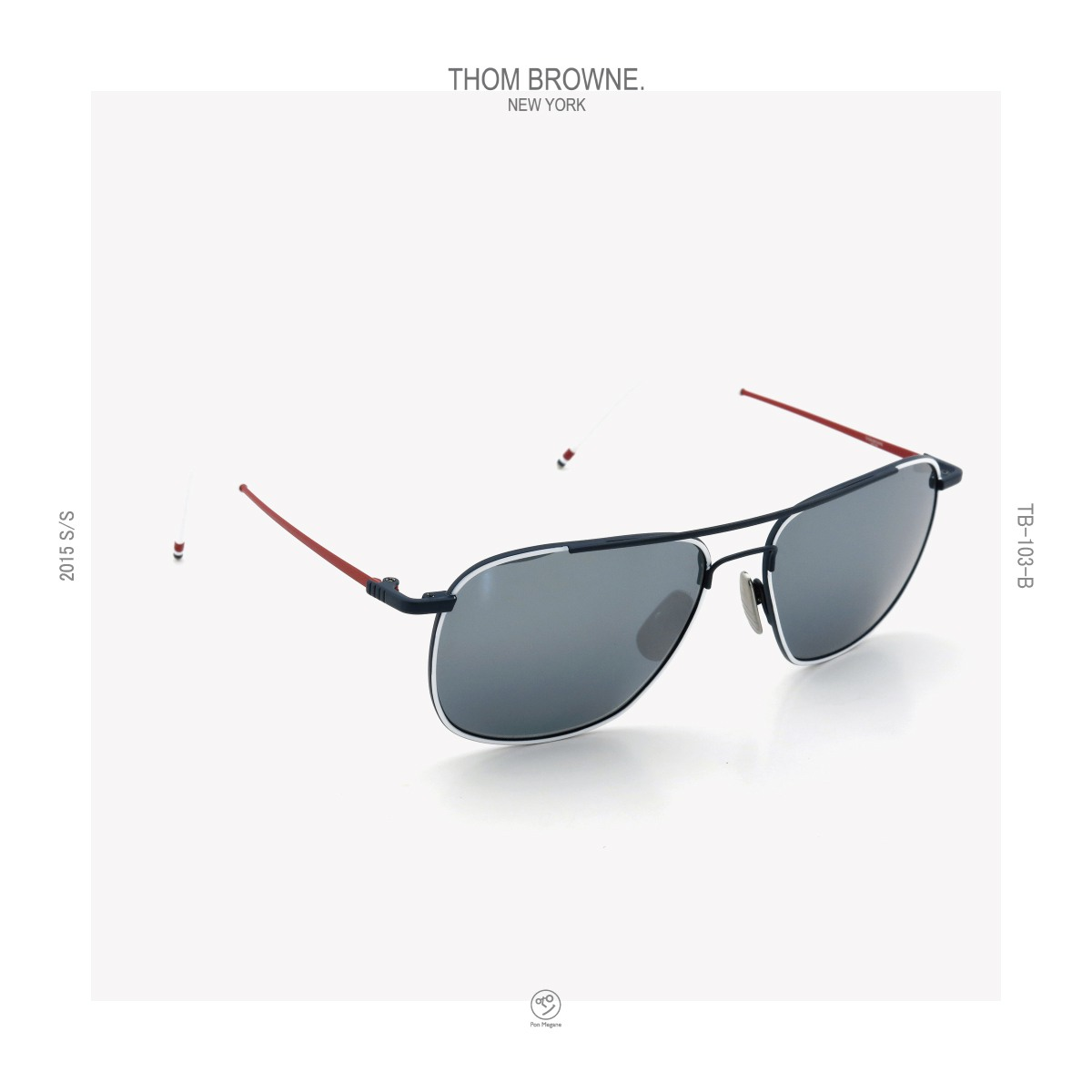 THOM-BROWNE 2015s/s TB-103-B WHT-NVY-RED 58size