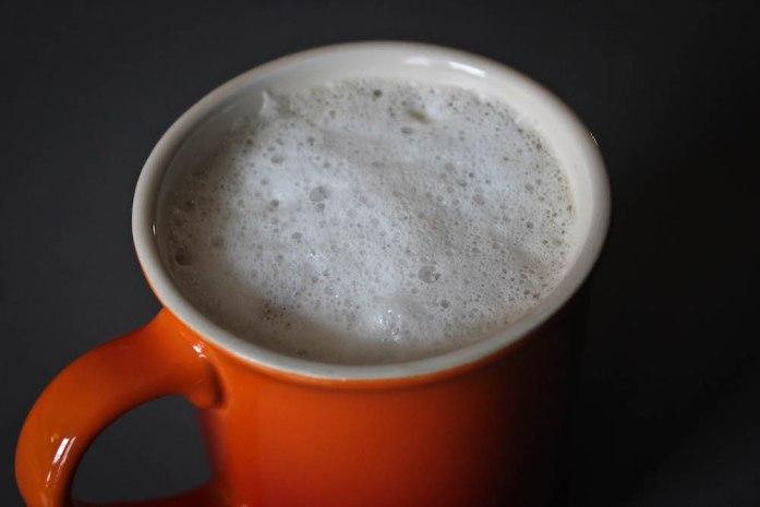 Steamed Milk Foam on a London Fog Latte Recipe with Lavender Earl Grey Tea