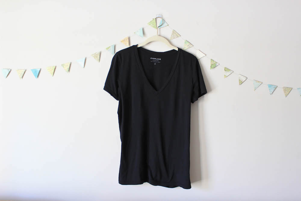 Everlane Black V-Neck Tee in a winter capsule wardrobe for Project 333