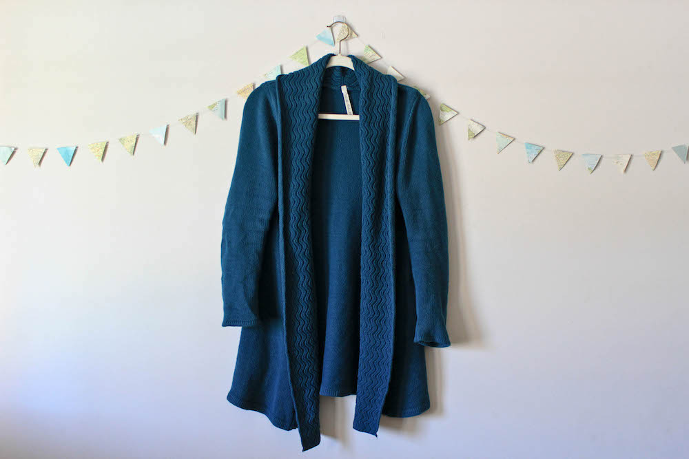 Teal Blue Cozy Cardigan Sweater in a winter capsule wardrobe for Project 333