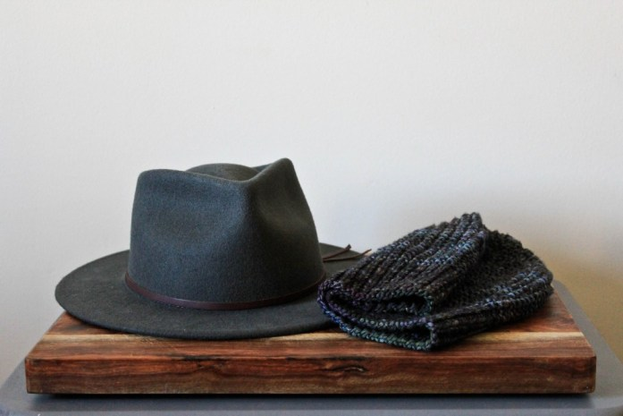 The two hats in a winter capsule wardrobe. Hand-knit beanie and fedora from Yellow 108.