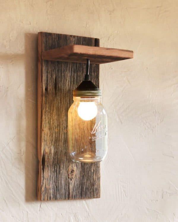 C mo hacer l mparas de madera artesanales diy por4pavos - Como hacer una lampara de pared ...