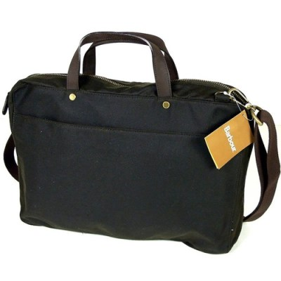 Barbour Wax Cotton Leather Laptop Bag