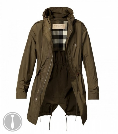 The Want | Burberry Waxed Hooded Fishtail Parka