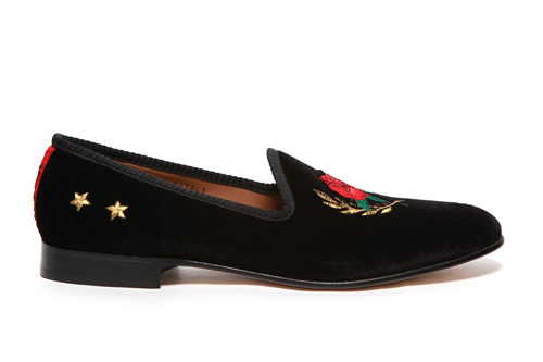 Del Toro x Theophilus London Rose Crest Black Velvet Slippers