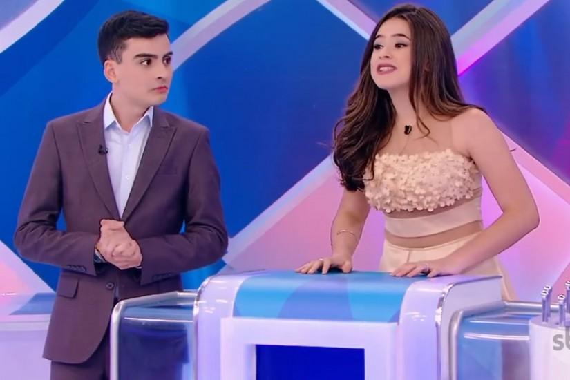 """Maísa Silva deixa o palco chorando em nova gravação com Dudu Camargo no """"Programa Silvio Santos"""""""