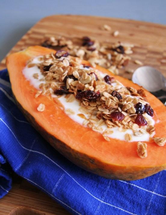 Papaya Boats with Yogurt and Granola 1