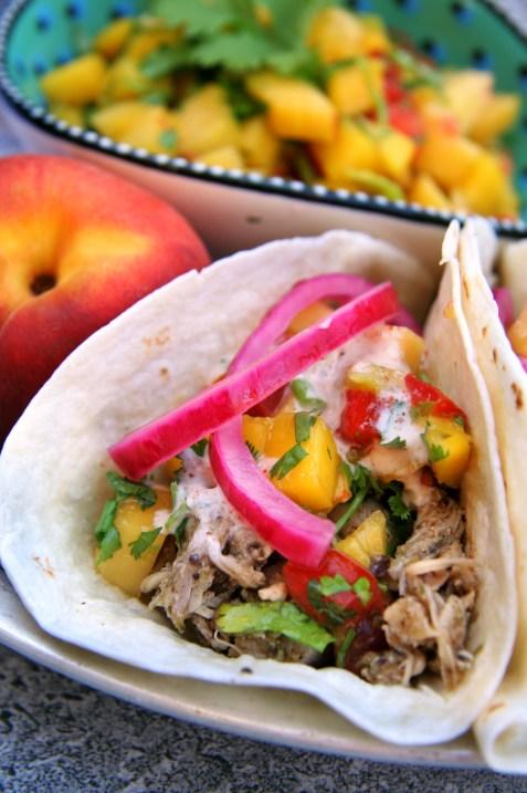 Jerk Chicken Tacos with Peach-Mango Salsa, Pickled Red Onions & Spiced Yogurt