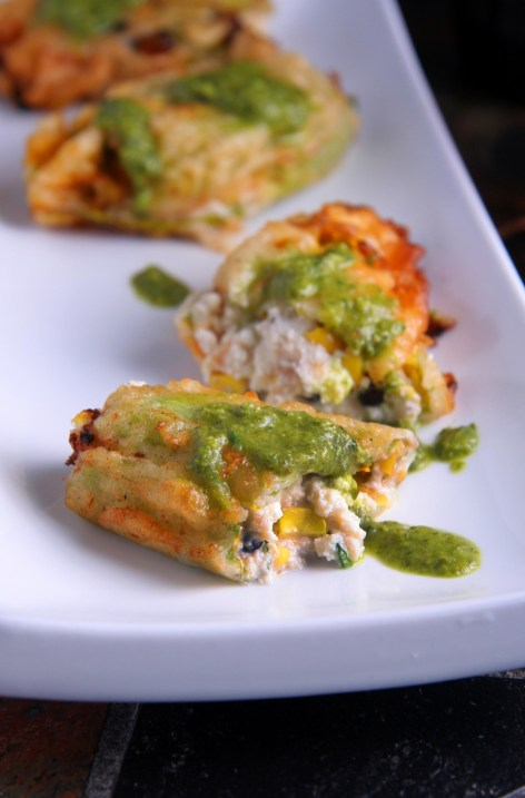Roasted Corn & Black Bean Stuffed Squash Blossoms with Charred Jalapeño Chimichurri