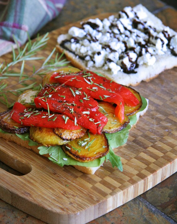 Roasted Beet & Bell Pepper Sandwich on Focaccia with Rosemary, Goat Cheese & Balsamic