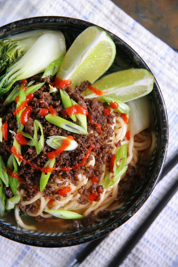 Spicy Sriracha Soup Noodles with Crispy Ground Beef