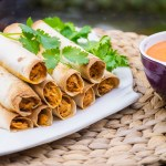 Baked Chicken Flautas with Roasted Red Pepper Sauce