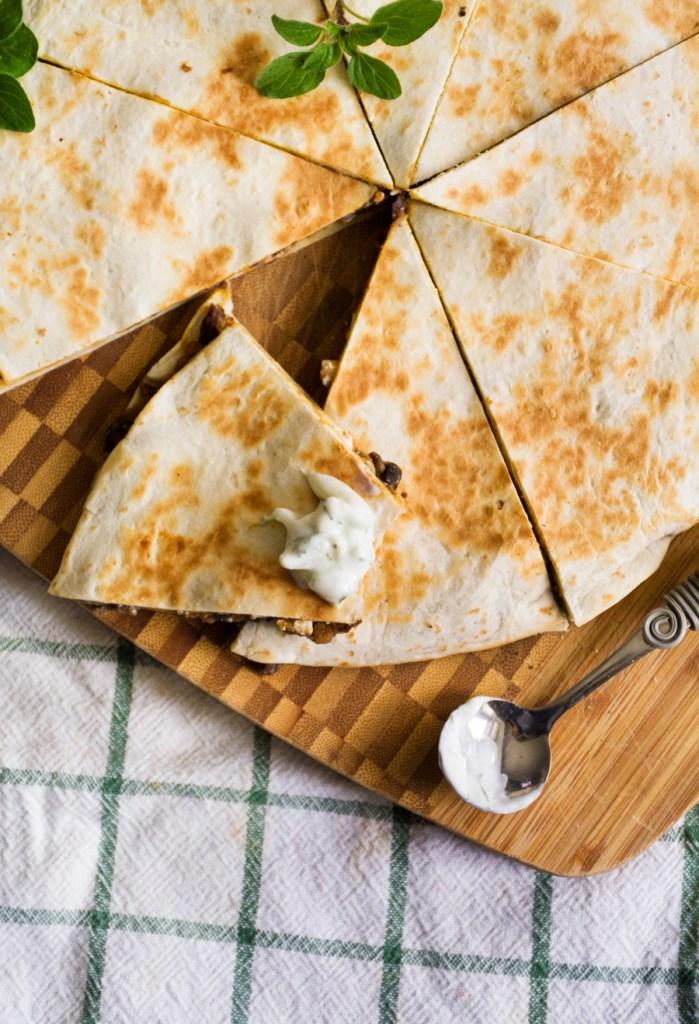"""Greek """"Quesadillas"""" with Lemony Tzatziki"""