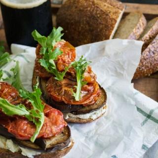 Balsamic Aubergine, Slow Roasted Tomato & Goat Cheese Sandwich