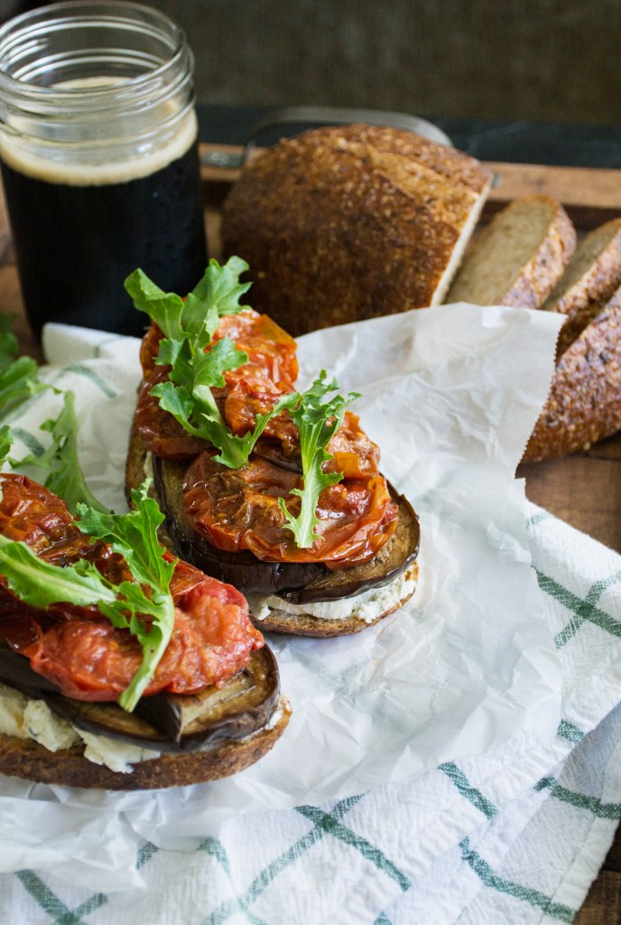 Balsamic Aubergine, Slow Roasted Tomato & Goat Cheese Sandwich