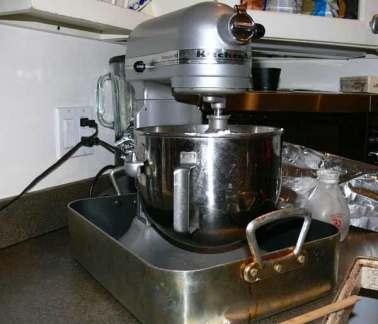 Mixer set into pan, ready to go