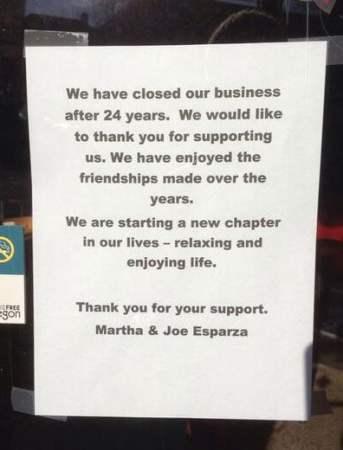 Esparza's Tex-Mex closed