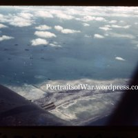 WWII Color Slide Photo - Aerial Shot of the Opening Hour of the Battle of Tarawa Shot by Carrier Fighter Pilot
